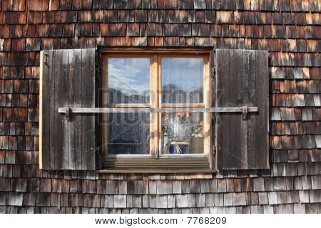 Window On Old Bavarian Hut