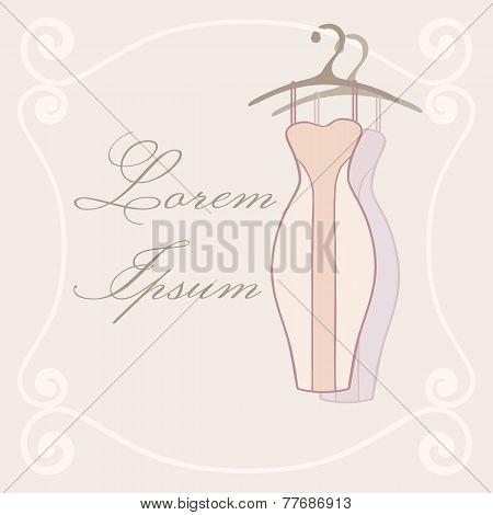Dresses On Hangers. Invitation Tamplate