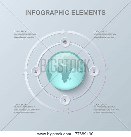 Modern infographic design with 3D globe and paper elements.