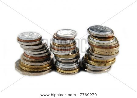Three stacks of different coins