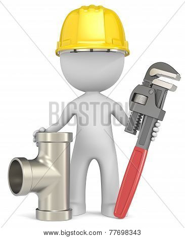 Dude the Plumber with Wrench and Pipe. poster