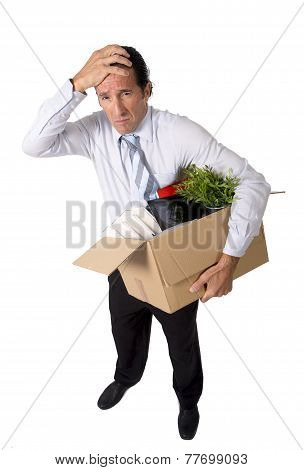 Senior Businessman Carrying Office Box Fired From Work Sad Desperate Depressed After Loosing Job