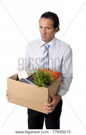 Senior Businessman Carrying Office Box Fired From Work Sad Despe