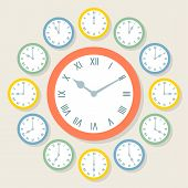 Retro Vector Roman Numeral Clocks Showing All 12 Hours. Each clock is on a separate layer poster