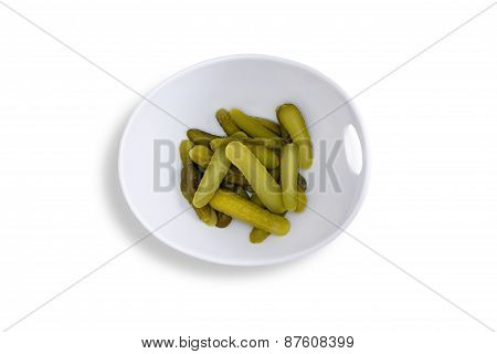 Pickles On Contemporary Bowl On White Background