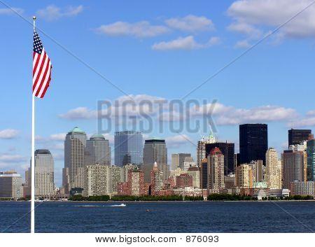 New York Skyline With Flag