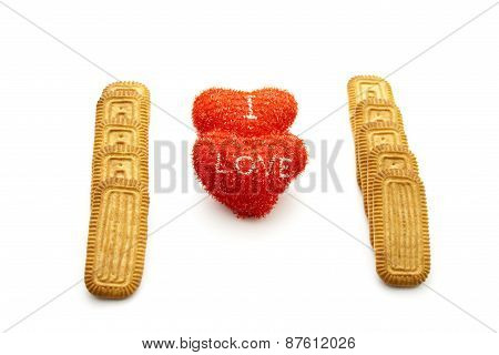 Fresh Baked Butter Biscuits with Red Hearts