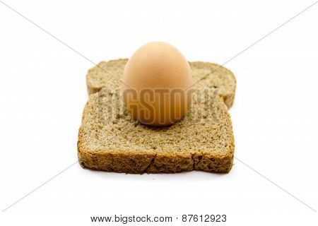 Fresh Brown Egg  with Toast Bread