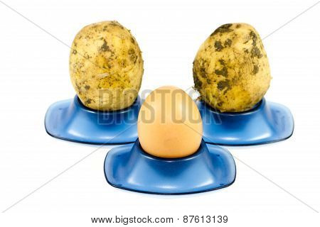 Fresh Brown Eggs with Potatoes