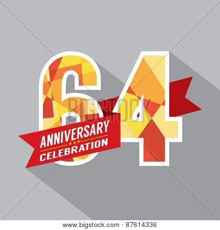 64Th Years Anniversary Celebration Design.