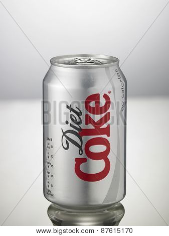 Kuala Lumpur,Malaysia 9th April 2015,Editorial photo of Light Coca-Cola can on White Background. Coca-Cola Company is the most popular market leader in Malaysia.
