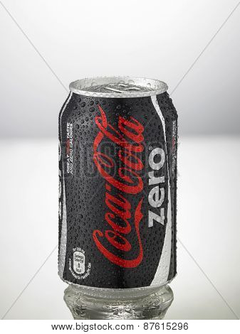 Kuala Lumpur,Malaysia 9th April 2015,can of the coca cola zero with water drop on the white background
