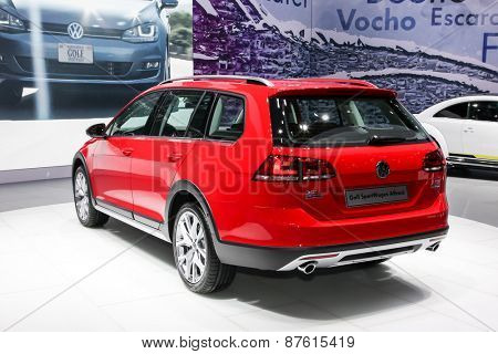 NEW YORK - APRIL 1: Volkswagen exhibit Volkswagen Golf Sport wagen alltrack at the 2015 New York International Auto Show during Press day, public show is running from April 3-12, 2015 in New York, NY.