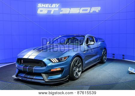 NEW YORK - APRIL 1: Ford exhibit Ford GT350R Mustang at the 2015 New York International Auto Show during Press day,  public show is running from April 3-12, 2015 in New York, NY.