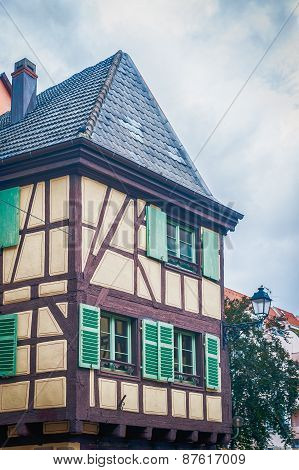 typical half timbered house in alsace