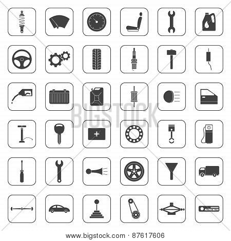 Set Of Car Parts Icons