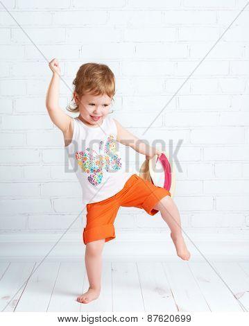 happy beautiful baby girl dancer dancing modern hip hop dance poster