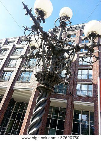 Rod iron, historic lamp post on the streets of Dublin Ireland