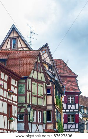 strange half timbered houses in alsace