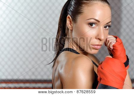 Female boxer does bandage
