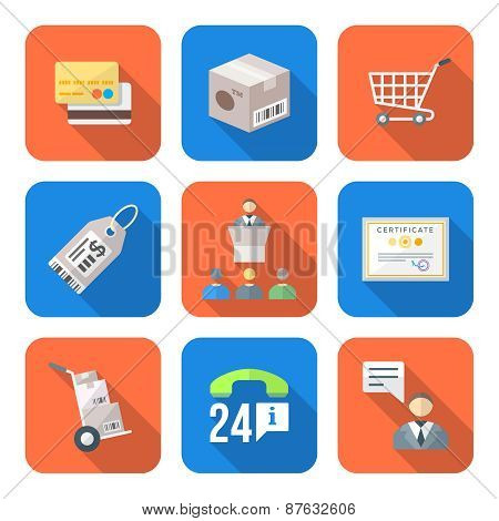 Various Colorful Flat Style Business Distribution Marketing Process Icons Set.