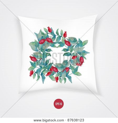 Vector watercolor burberry wreath with red berries and green leaves on pillow. Artistic vector desig