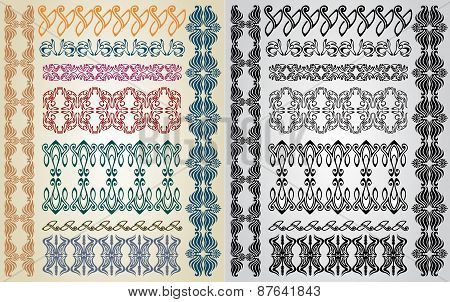 set pattern element art nouveau color and black poster