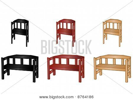 Vector Illustration Wooden Benches
