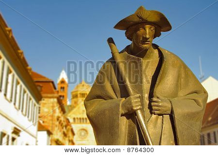 Pilgrim statue at Speyer Cathedral, Speyer, Germany poster