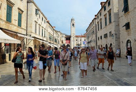 Tourists shopping  in the Stradun Dubrovnik
