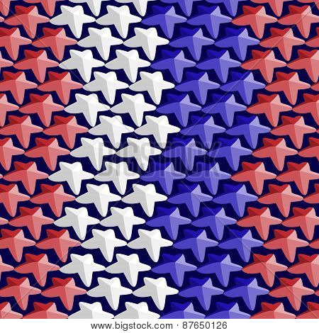 Seamless Pattern Consisting Of White,red And Blue Stars In The Tone Of The U.s. Flag.