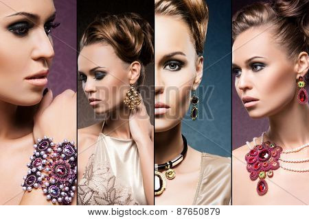 Beautiful woman in a precious necklaces, earrings and bracelet. Jewelry collection.