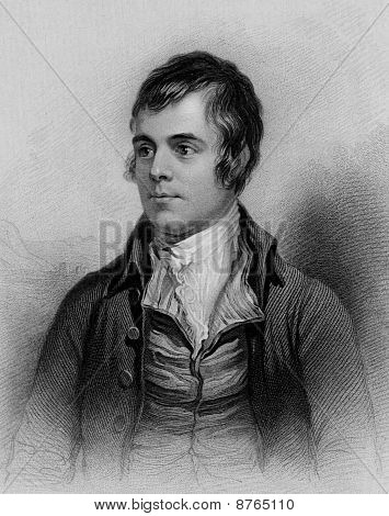 Scottish poet Robert Burns engraving from A Biographical Dictionary of Eminent Scotsmen 1870. Public domain image by virtue of age. poster