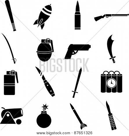 weapons symbols set poster