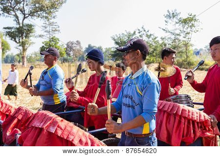 Thailand Traditional Musician Band Playing Folk Music