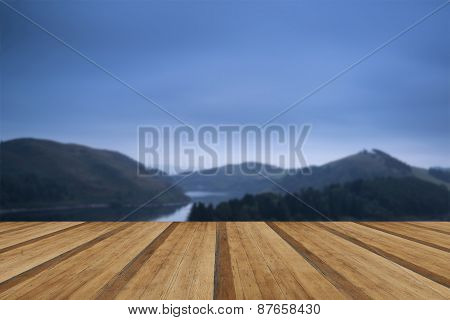 Moody Landscape Image Of Lake Pre-dawn In Autumn With Haunting Feel With Wooden Planks Floor