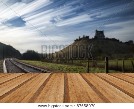 Unique Abstract Time Lapse Stack Landscape Of Medieval Castle And Railway Tracks With Wooden Planks