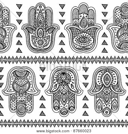 Vector Indian hand drawn hamsa seamless pattern
