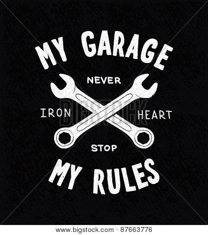 Vintage typographic biker or auto repair shop poster, vector poster