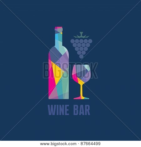 Wine Bottle and Glass - Abstract Illustration for creative design projects.