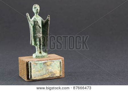 Chieftain Praying With Cloak And Stick, Bronze Figurine