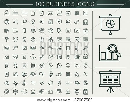 100 Business Line Icons Set