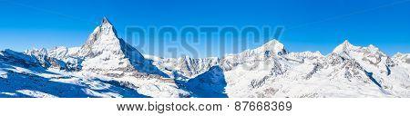 Panorama View Of Matterhorn And Weisshorn
