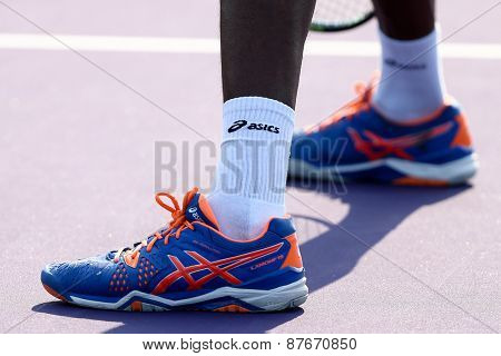 KEY BISCAYNE, FL-MAR 26: Asics sneakers worn by Gael Monfils of France during men's doubles on day four at the Miami Open at Crandon Park Tennis Center on March 26, 2015 in Key Biscayne, Florida.