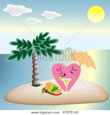 Love Hearts On Vacation Sitting Under A Palm Tree On The Beach,and Quench Your Thirst With A Delicio