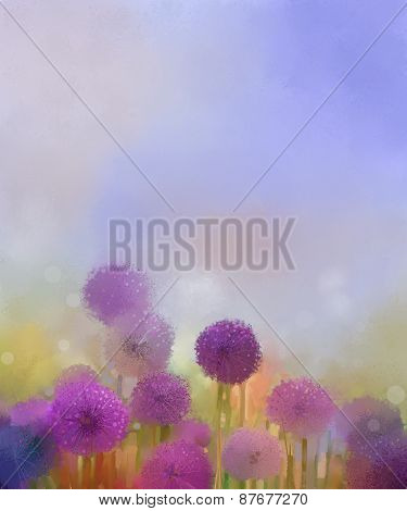 Oil painting,Pastel colors light purple onion flower in the meadows