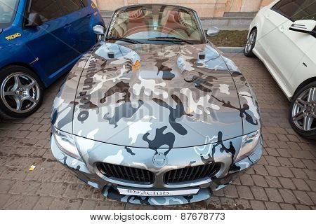 Bmw Z4 Roadster Car With Gray Camouflage Color