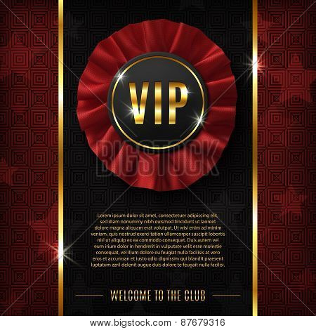 VIP background with realistic, fabric award ribbon.