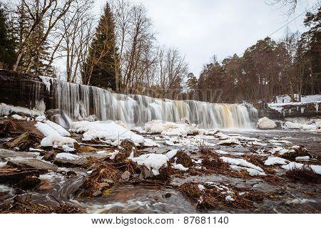 Estonian winter panorama waterfall