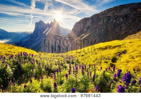 Great view on the  Puez Odle - Geisler group. National Park valley Gardena. Dolomites, South Tyrol. Location Ortisei, S. Cristina and Selva Gardena, Italy, Europe. Dramatic unusual scene. Beauty world